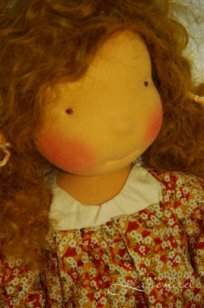 Organic waldorf doll for sale by Atelier Lavendel