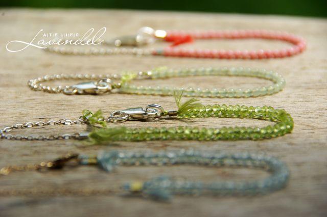 Handmade genuine gemstone bracelets. EllyGems by Atelier Lavendel. Handcrafted in Germany