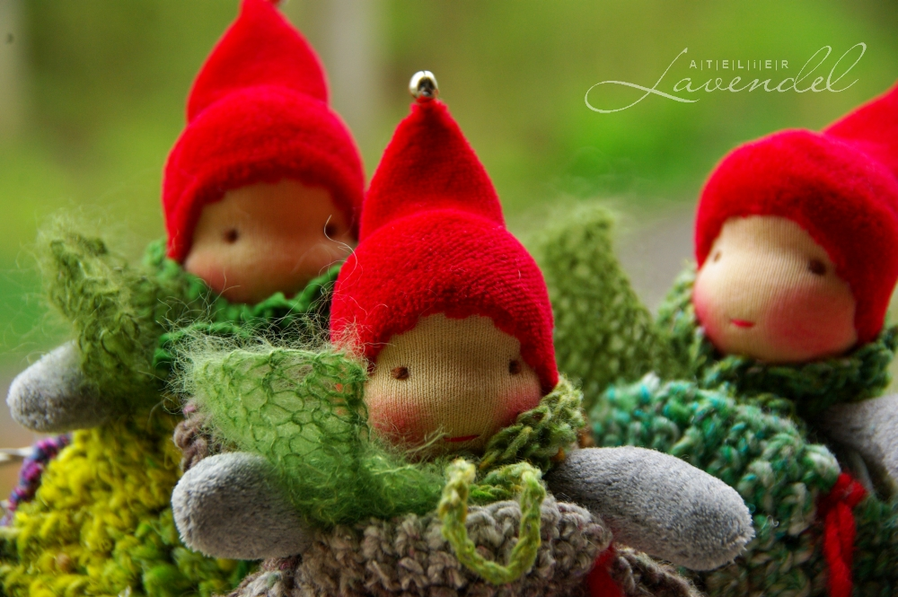 Handmade Waldorf pocket gnomes by Atelier Lavendel are made with all natural, organic materials, fun and safe for every age.