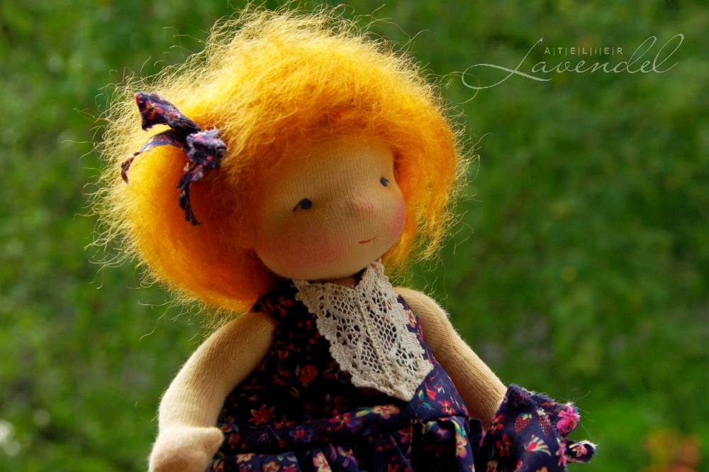 handmade little Waldorf doll: Meet Dora! Standing 9 in, she is an ooak Waldorf inspired doll by Atelier Lavendel, made with high quality all natural materials.
