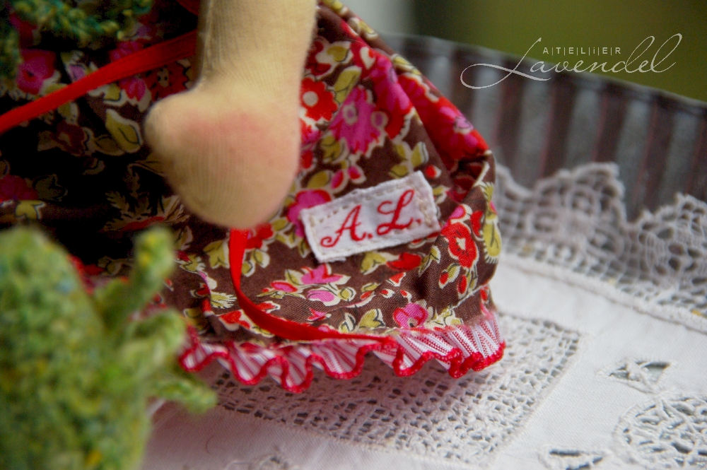 OOAK Waldorf doll 9in: Ann-Louise, handmade with love and care by Atelier Lavendel. Organic, natural. Handmade in Germany.