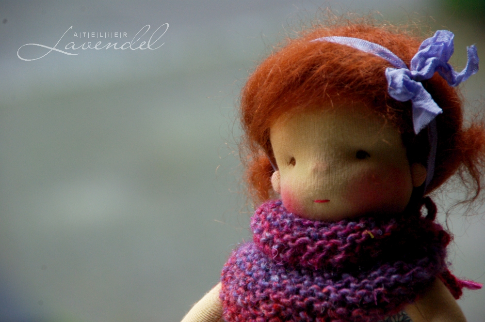 Waldorf doll 9in: meet Annie, an one-of-a-kind doll, handmade by Atelier Lavendel, using all natural organic materials.