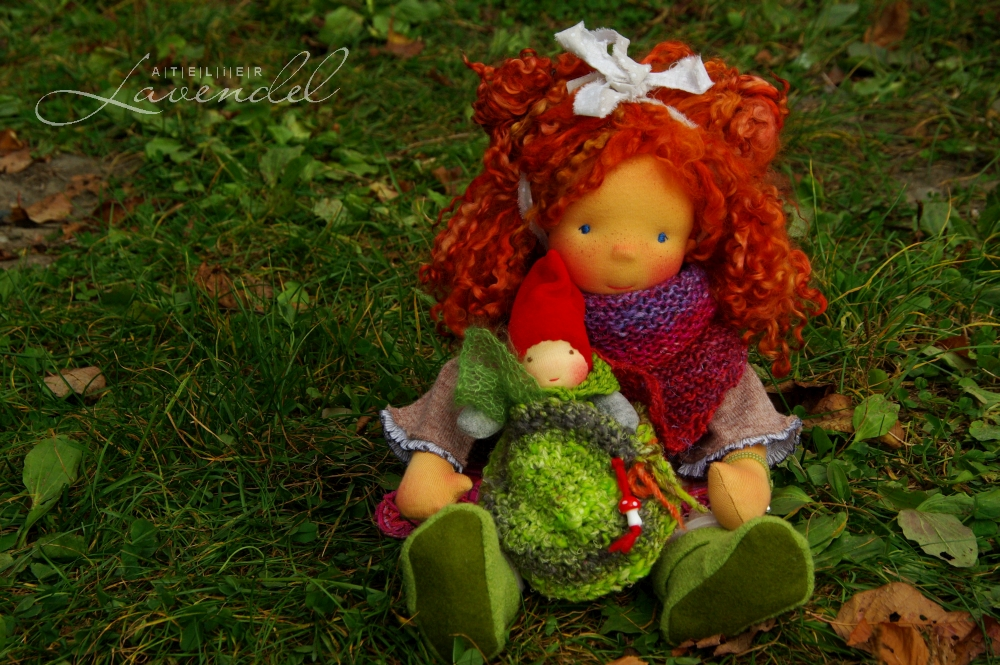 one-of-a-kind Waldorf doll: meet Margit, standing 18 inches, lovingly handmade by Atelier Lavendel. Handmade in Germany.