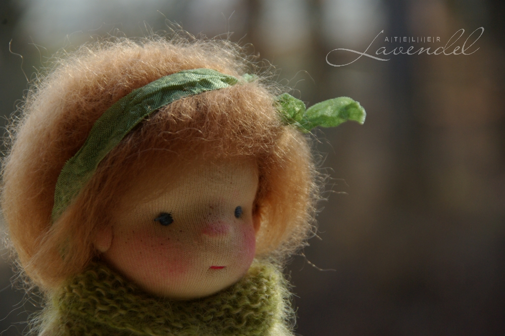 artist made Waldorf doll: meet Dora, Waldorf inspired natural fibres doll by Atelier Lavendel. Made with all natural organic materials, Dora stands 9 in.