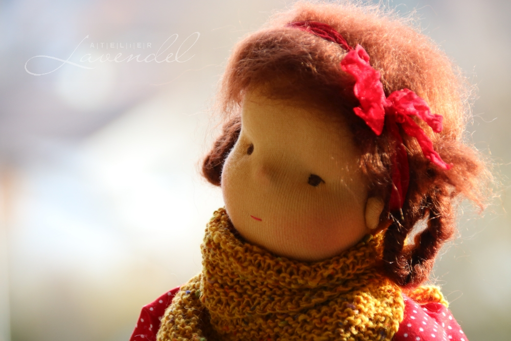Handmade Waldorf play doll  by Atelier Lavendel. Lovingly hand made with all natural organic materials. Handmade in Germany