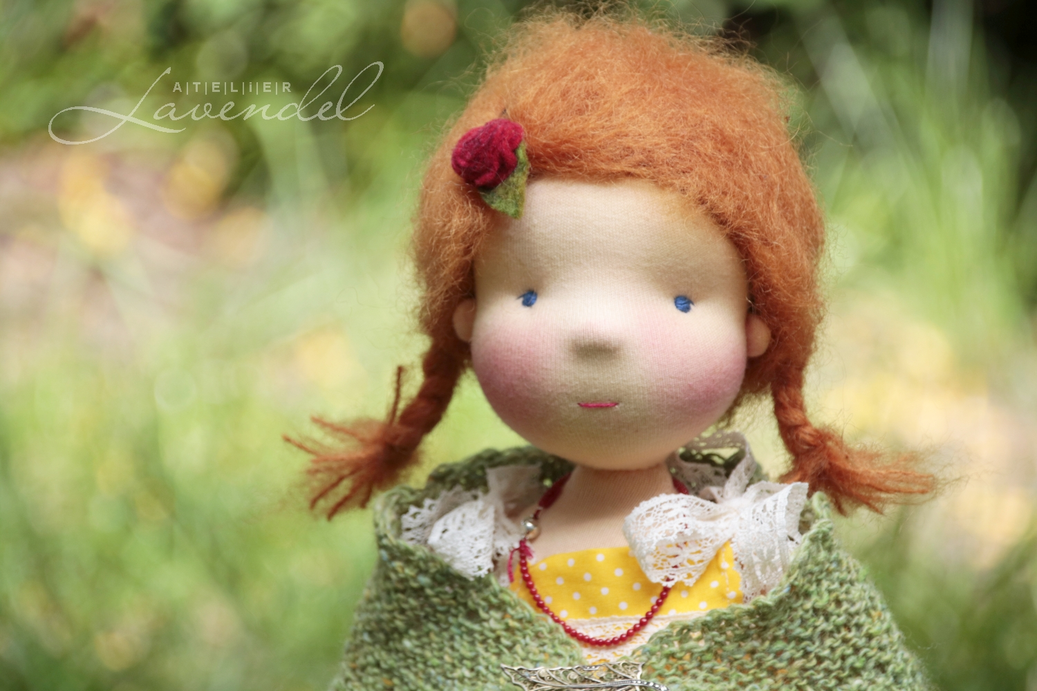 waldorf natural fibers doll handmade by Atelier Lavendel. All natural best quality organic materials. Handmade in Germany.